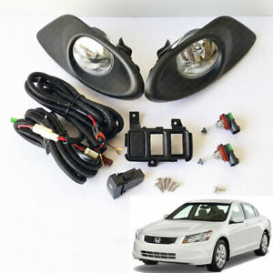 For 2008 2010 Honda Accord Sedan Clear Fog Light Kit With Switch Bulbs Bezel Set