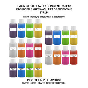 Shaved Ice Sno Cone Flavor Syrup Mix Concentrate Snow Kone Mix 20 Pack 1oz