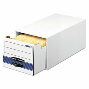 Bankers Storage Box W Drawer Wire 5 X 8 White blue 12 Per Carton fel00306