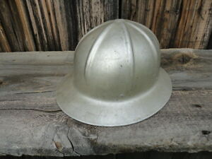 Vintage Davis Newark Nj Aluminum Hard Hat Logging Mine Metal Mining Oil Field