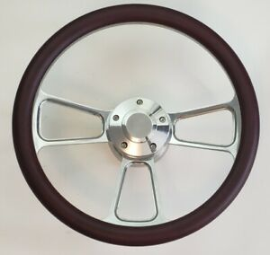 Burgundy Half Wrap 14 Billet Steering Wheel Kit With Hub Adaptor