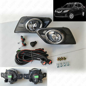 For 2014 2016 Nissan Rogue Clear Fog Lights Kit With Switch Bulbs Bezel Wiring