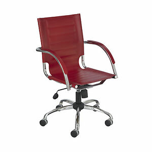Flaunt Managers Chair Red Leather Red 1 Ea