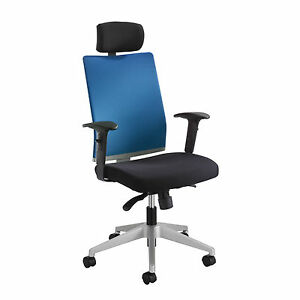 Tez Manager Chair With Headrest Blue 1 Ea