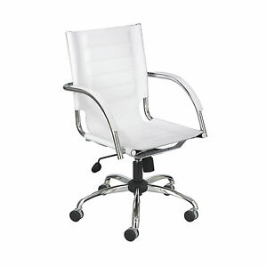 Flaunt Managers Chair White Leather White 1 Ea