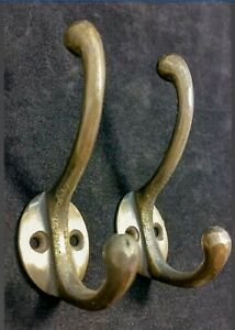 2 Solid Antique Brass Double Coat Hooks W Oval Backplate 3 X 2 C9