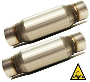 Pair Of 2 5 Straight Universal Glass Pack Exhaust Resonator Muffler