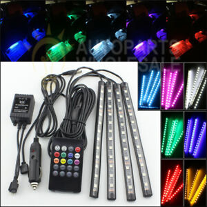 4 Rgb 12 Led Strips 7 Colors Remote Control Car Interior Floor Atmosphere Light