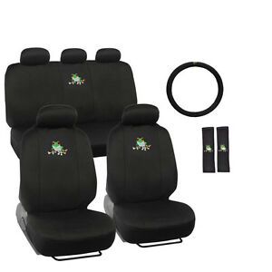 New Green Tree Frog Front Back Car Seat Covers Steering Wheel Cover Full Set