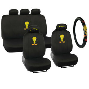 New Looney Tunes Tweety Bird Front Back Car Seat Covers Steering Wheel Cover