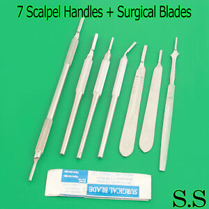 7 Assorted Scalpel Handles 3 4 100 Sterile Surgical Blades 10 15 20 24