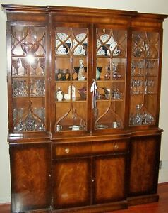 Vintage Flame Mahogany Breakfront China Cabinet W Leather Secretary Will Ship