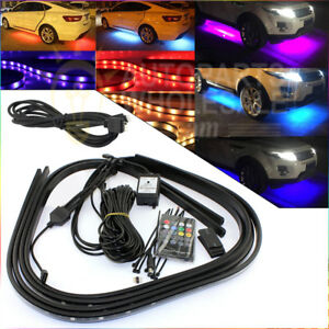 Rgb Led Strip Under Car Tube Underglow Underbody Glow System Neon With Extension