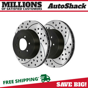 Front Pair 2 Drilled Slotted Brake Rotors 6 Stud For 08 19 Nissan Armada Titan