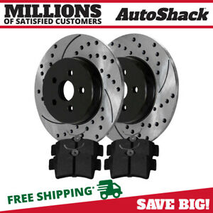 Rear Drilled Slotted Brake Rotors Ceramic Pads For 96 04 Ford Mustang Base Gt