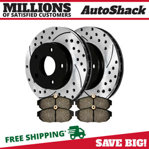Rear Drilled Slotted Rotors Ceramic Pads For 2005 2009 2010 2011 Ford Mustang