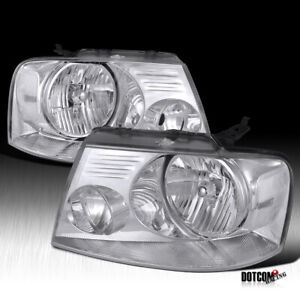 For 2004 2008 Ford F150 Pickup Crystal Clear Lens Headlights Head Lamps Pair