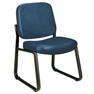 Ofm Faux Leather Guest Reception Chair In Navy