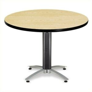 Ofm Mesh Base 42 Round Table In Oak Transitional Conference
