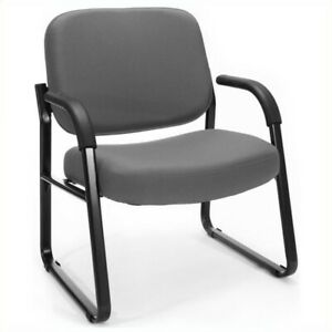 Ofm Big And Tall Reception Guest Chair With Arms In Gray