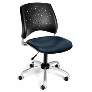 Ofm Stars Faux Leather Swivel Office Chair In Navy