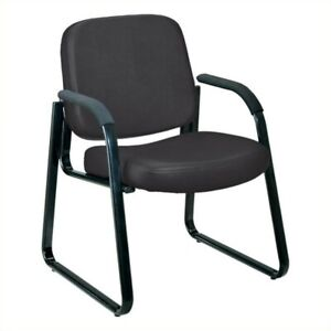 Ofm Vinyl Guest Chair With Arms In Black