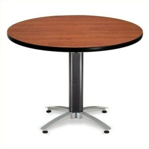 Ofm Mesh Base 42 Round Table In Cherry Transitional Conference