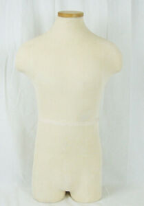 Male Torso Full Body Mannequin Shirt Coat Form Display Cream Ivory Cloth Covered
