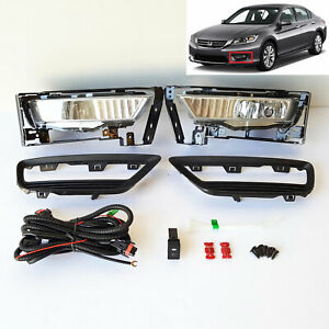 For 2013 2014 2015 Honda Accord Sedan Clear Fog Lights Kit W Switch Bulbs Bezel
