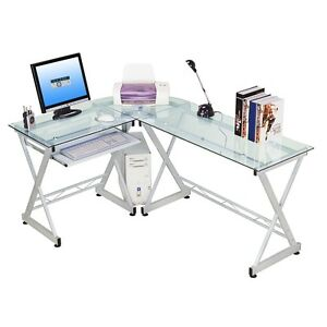 Techni Mobili L shaped Tempered Glass Top Computer Desk With Pull Out