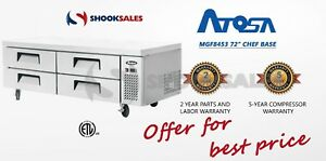 Atosa Mgf8453 Commercial Restaurant Ss Steel 4 Drawer Refrigerated Chef Base Etl