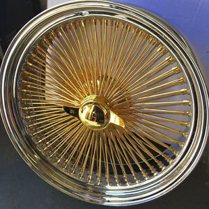 17x8 F W D Wire Wheel Full Accessories Fit New Cadillac Fwd All Gold Center
