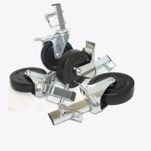 Lot Of 4 5 Hard Rubber Locking Scaffolding Caster Wheels With 1 Square Shank