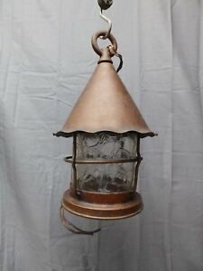 Vtg Arts Crafts Mission Copper Porch Ceiling Light Fixture Crackle Glass 2191 16
