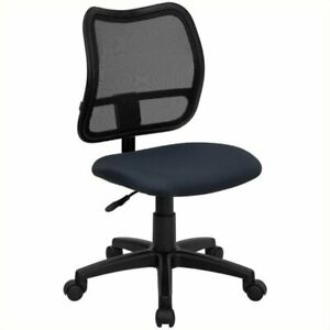 Scranton Co Mid back Mesh Office Chair With Navy Blue Fabric Seat