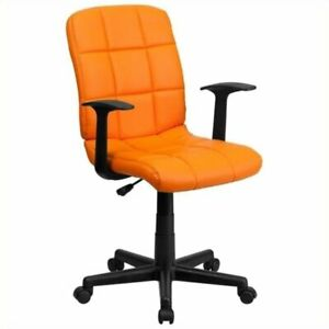 Scranton Co Faux Leather Mid back Office Chair With Arms In Orange