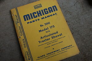 Michigan Clark 175 3a Front End Wheel Loader Parts Manual Book Catalog Spare