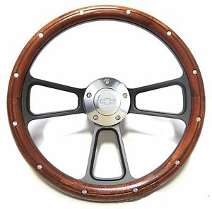 1964 1966 Chevy Bel Air Impala Chevy Ii Custom Wood Steering Wheel Full Kit