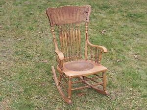 Antique Pressed Back Wooden Rocking Chair Victorian