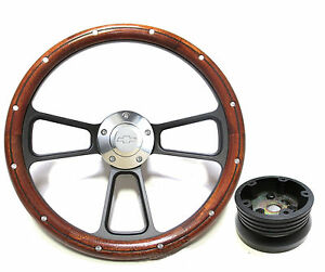 1955 1956 Chevy Bel Air Nomad Custom Wood Billet Steering Wheel Full Kit