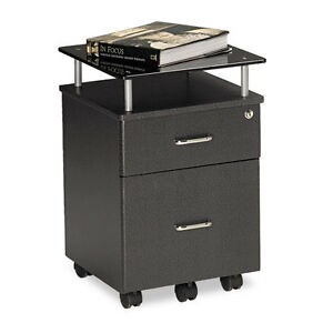 Mayline Eastwinds Vision Locking Box file Pedestal Anthracite With Black Glass