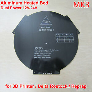 3d Printer Reprap Delta Rostock Aluminum Heatbed Pcb Heated Bed Mk3 12v 24v