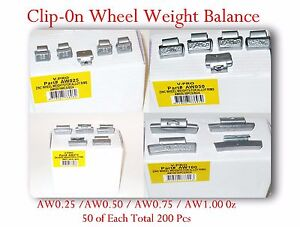 200 Pcs Zn Clip on Wheel Weight Balance Aw 0 25 0 50 0 75 1 00 0z 50 Of Each