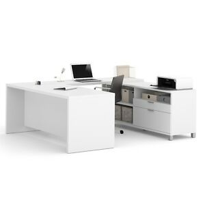 Bestar Pro linea U desk In White