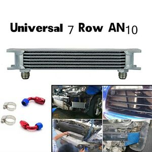 Universal 7 Row An10 Engine Transmission 248mm Oil Cooler W Fittings Kit Silver