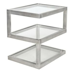 Lumisource 5s End Table Stainless Steel Glass