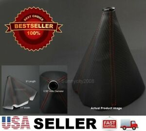 4 Red Seams Black Pvc Carbon Texture Shifter Shift Gear Knob Boot For Dodge
