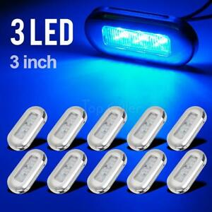 10x 3 Clear blue Led Oblong Courtesy Light Garden Accent Deck Lamp Polished
