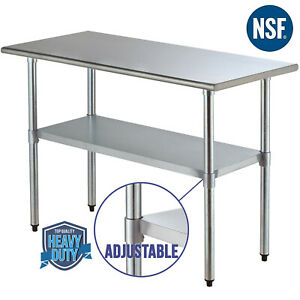 Commercial 24 x48 Stainless Steel Prep Table Food For Kitchen Restaurant Silver