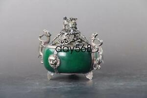 Exquisite Chinese Hand Carved Jade Tibetan Silver Inlay Incense Burner Ljq124